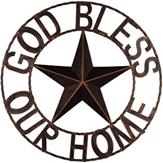 "EBEI 18"" Metal Barn Star Western Home Wall Decor Antique Circle Dark Brown Texas.."