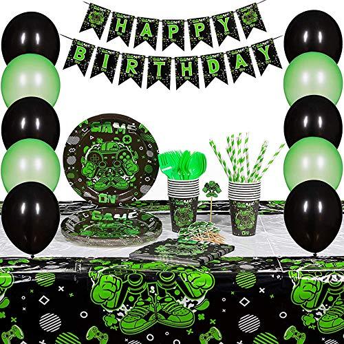 BESLIME Video Gaming Partyzubehör Set einschließlich Banner, Teller, Tassen, Servietten, Ballon, Gabeln und Messer Video Gaming Party Supplies für Kinder Serves 16 Guests
