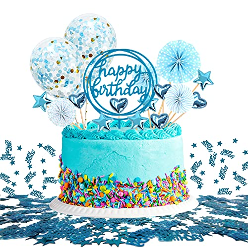 JSTC Tortendeko Blau, Happy Birthday Tortendeko Geburtstag Kuchen Deko Cake Topper Kuchendeko Torte Dekoration für Geburtstagsdeko Junge Kindergeburtstag Mann Frau Geburtstagstorte.