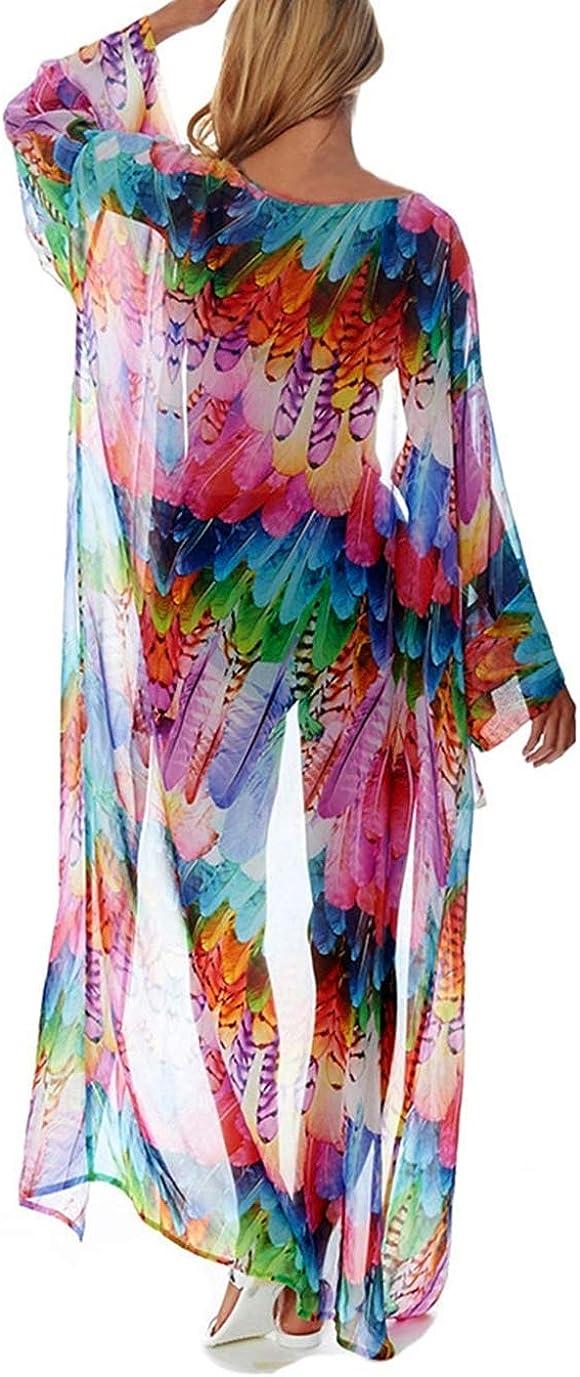 Eddoyee Print Beach Kimono Cardigans for Women Open Front Swimsuit Cover Up