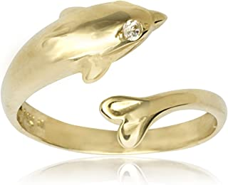 JewelryWeb Solid 10K Yellow or White Gold Adjustable Nautical Dolphin Toe Ring (10mm x 15mm)
