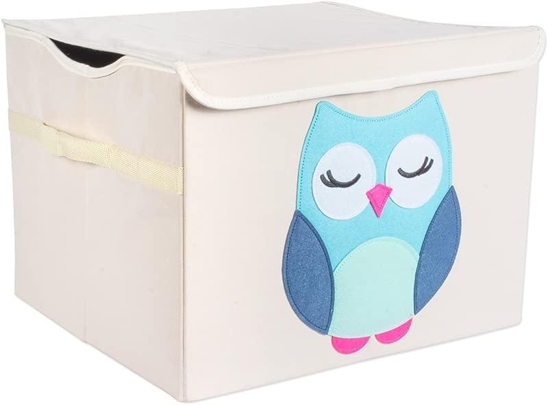 DII Nursery Or Playroom Storage Toy Chest With Flip Lid 17 X 15 X 12 Owl