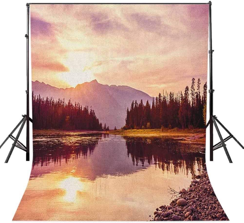 8x12 FT Landscape Vinyl Photography Backdrop,Grand Teton Mountain Range at Sunset Jackson Lake Calm National Park USA Background for Photo Backdrop Baby Newborn Photo Studio Props