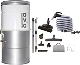 OVO Large Capacity Hybrid 630 Airwatts System Power Unit with Carpet Deluxe Accessory Kit Included Central Vacuum Cleaner Vac, Sliver, PAK63CD