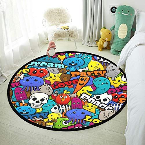 Alfombra redonda para bebé, suave, circular, para dormitorio, diseño de grafiti Shaggy