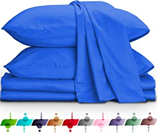 URBANHUT Egyptian Cotton Sheets Set (4 Piece) 800 Thread Count - Bedspread Deep Pocket Premium Bedding Set, Luxury Bed Sheets for Hotel Collection Soft Sateen Weave (Queen, Royal Blue)