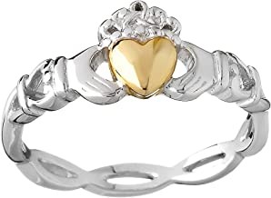 Biddy Murphy Claddagh Wedding Band for Women Sterling Silver & 10K Gold Made in Ireland