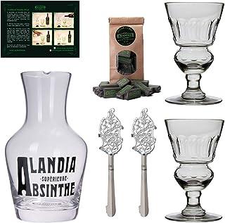 ALANDIA Absinth-Gläser Karaffe Löffel Set | Mundgeblasenes Glas | Klassisches 19. Jh. Design