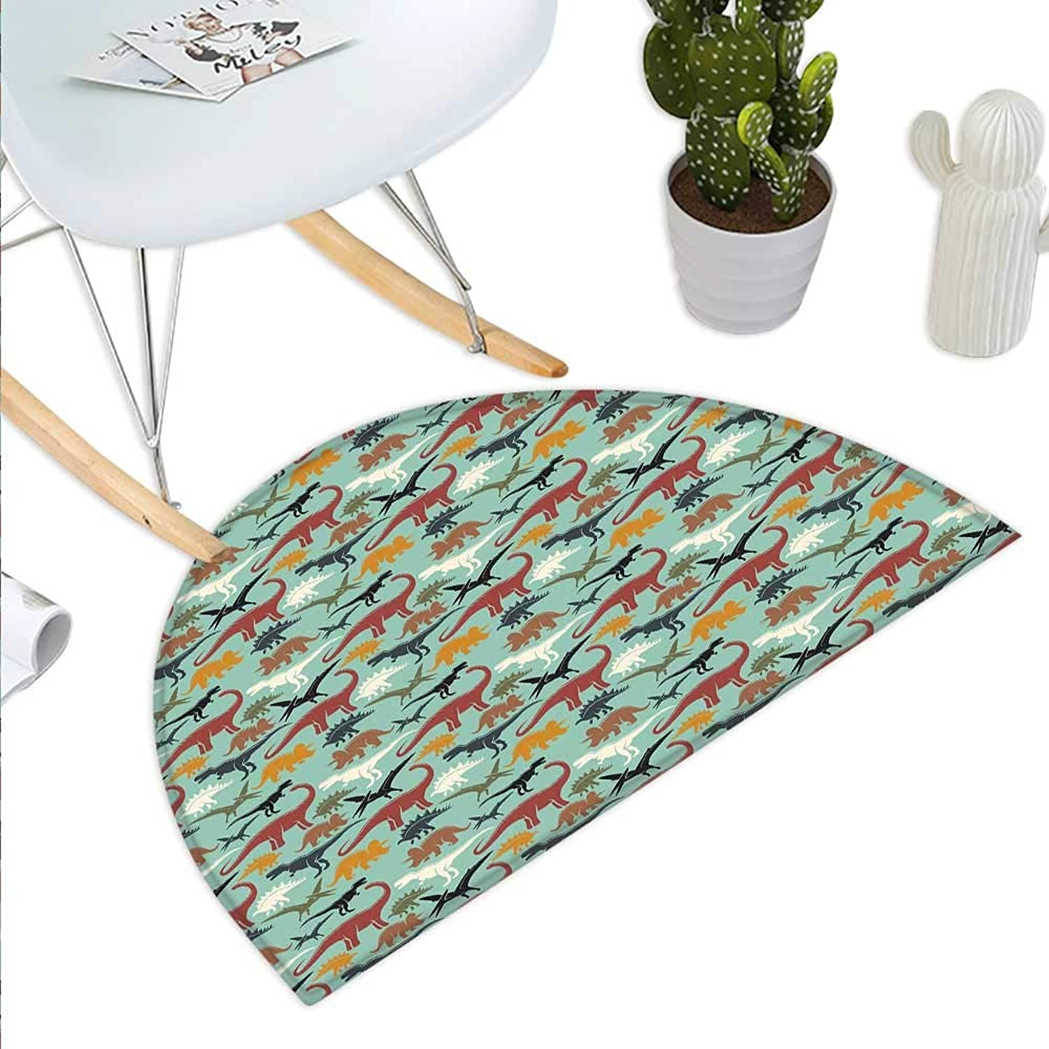 Dinosaur Semicircle Doormat Retro colord Prehistoric Animal Silhouettes Different Dino Types Extinct Species Halfmoon doormats H 43.3  xD 64.9  Multicolor