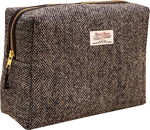 Vagabond Bags Ltd Harris Tweed Herringbone Big Bertha Bag Trousse de Toilette, 25 cm, Noir (Black & White Tweed)