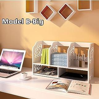 2-Nivel DIY Estantería Organizador de Escritorio Unidad de Caja de Almacenamiento de CD Libros Biblioteca Estante Librería de Exhibición para Mesa de Trabajo Estudio en Hogar Oficina (Modelo B-Grande)