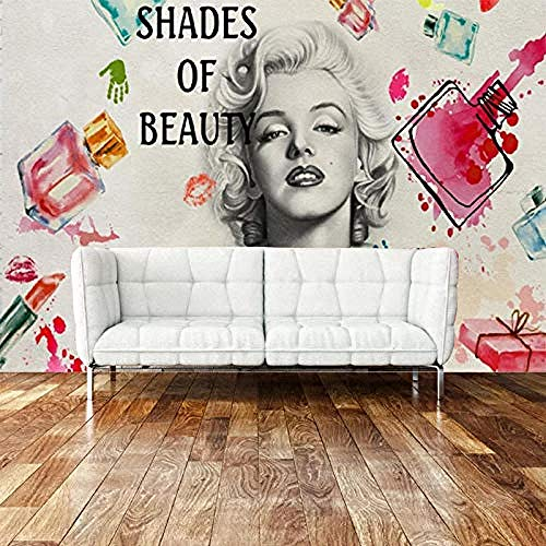 Schönheitssalon Wallpaper_Fashion Nail Art Schönheitssalon Marilyn Monroe 3D Wandbild Kosmetikgeschäft Nagellack Wa wandpapier fototapete 3d effekt tapete tapeten Wohnzimmer Schlafzimmer-400cm×280cm