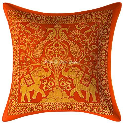 Stylo Culture Indisch Brokat Dekorativ Kissenbezüge 12 x 12 Inch Wohnzimmer Kissen Jacquard Orange Gold 30 x 30 cm Elefant Traditionell Dekokissen Quadrat Kissenhüllen (1 Piece)