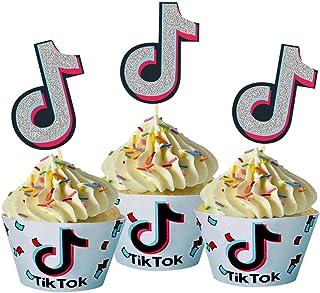 24 Pcs Tik Tok Cupcake Toppers Cake Picks for Social Media Theme Birthday Party Food Decorations