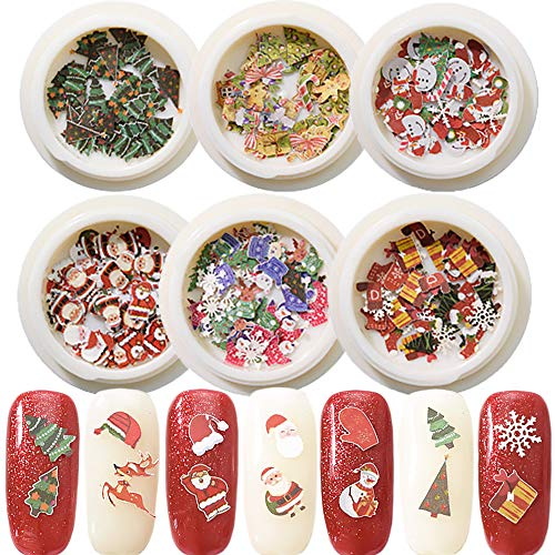 Nail Art Decal Design 6 Boxes Christmas Nail Art Stickers 3D Nail Decals Decoration Accessories Christmas Theme Festival Party Nails Decoration Santa Claus, Snowman, Elk, Socks,Snowflake