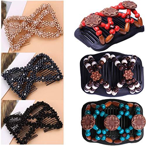 Tangger 6 PCS Perlen Haarkämme Magie Afrikanische Haarspangen Damen,Elastische Comb Haarspangen Dehnbar Kamm Doppel Clips Mädchen Vintage Haarschmuck