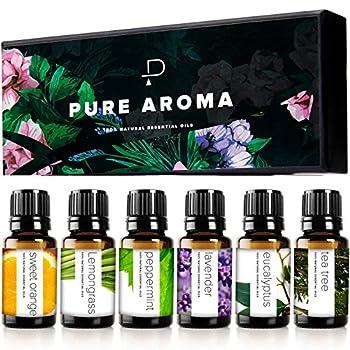 Essential Oils by PURE AROMA 100% Pure Therapeutic Grade Oils kit- Top 6 Aromatherapy Oils Gift Set-6 Pack 10ML Eucalyptus Lavender Lemon Grass Orange Peppermint Tea Tree