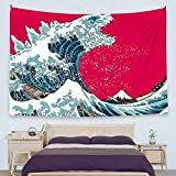 Ofat Home Japanese Hokusai Creative Godzilla The Great Wave Painting Artistic Tapestry Wall Hanging, Wonderful Nature Scenic, Fiber Fabric Home Wall Decor Poster, 59'x78.7'