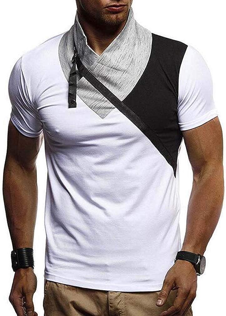 Men Spring Summer Thin Stitching Collar Undershirt Turtleneck Tees Casual Short Sleeve Slim Fit T-Shirt Tops
