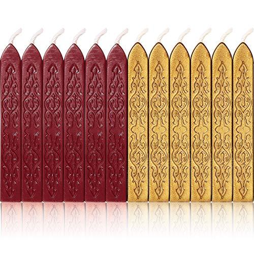 Siegelwachs mit Dochten und antikem Feuer-Manuskript, Siegelwachs für Wachssiegel Stempel, 12 Stück Flashing Wine Red and Gold