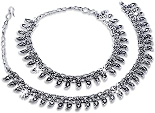 Yellow Chimes Exclusive Antique 2 Pc Stylish Payal Oxidized Silver Indian Bollywood Designer Anklet Indian Traditional Jewelry for Women from