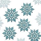 LinTimes - 24 copos de nieve para árbol de Navidad, decoración navideña para colgar, color azul brillante