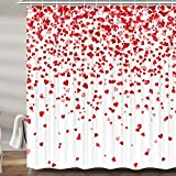 Valentines Day Shower Curtains for Bathroom, Cute Red Heart Valentine's Day Holiday Fabric Shower Curtain Set, White Bathroom Accessories Decor, Hooks Included (69W X 72H)