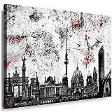 Wandbild 100 x 70 cm Stadt Wandbild Berlin Bild auf Leinwand mit Rahmen XXL Leinwandbild Skyline Kunstdruck Bär Silhouette Abstrakt o101-5