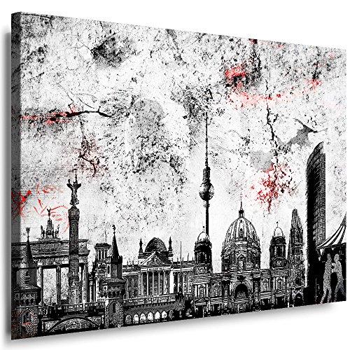 Wandbild 40 x 30 cm Stadt Berlin Bild auf Leinwand mit Rahmen XXL Leinwandbild Skyline Kunstdruck Bär Silhouette Abstrakt o101-1