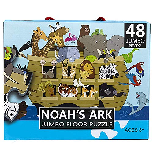 Religious Floor Puzzle for Kids - Noah's Ark - Jumbo Jigsaw Puzzle, Christian Bible Educational Game 48-Piece, 3 x 2 Feet