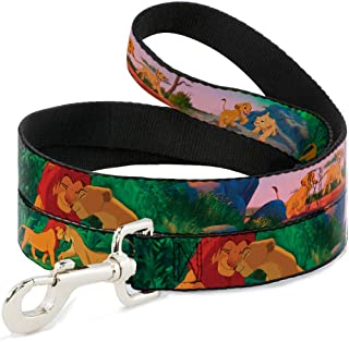 "Buckle Down Pet Leash - Lion King Simba & Nala Growing Up Scenes - 4 Feet Long - 1.5"" Wide"