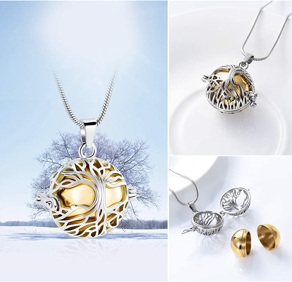 zeqingjw Tree of Life Cremation Urn Necklace for Ashes Memorial Urn Jewelry Ashes Locket for Loved Ones Keepsake Pendant Necklace