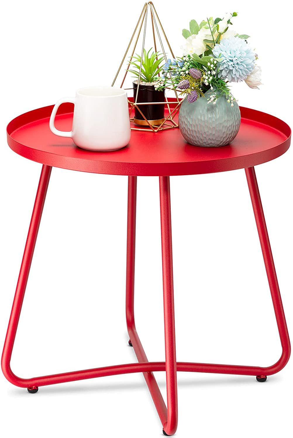 danpinera Outdoor Side Tables, Weather Resistant Steel Patio Side Table, Small Round Outdoor End Table Metal Side Table for Patio Yard Balcony Garden Bedside (Red)