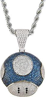 Moca Jewelry - Collana con ciondolo a forma di fungo con ciondolo a forma di grande fungo e catena da tennis