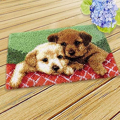 MLADEN DIY Crochet Yarn Kits,Needlework Latch Hook Kit Unfinished Crocheting Rug Yarn Cushion Embroidery Carpet Set (Dog,19.5X12)