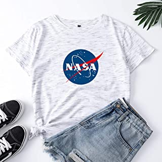 NASA Space Program Distressed Logo Women's T-Shirt,Letter Print Crop Tops Summer Short Sleeve T-Shirt, Modern Fit Tri-Blend T-Shirt