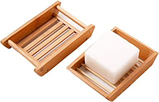 2PCS Bamboo Soap Dish Holder Container Eco-Friendly Double-Deck Soap Dish Shower Holder Case Box Storage Keeps Soap Dry And Cleaning For Bathroom Home Outdoor Camping Travel Holiday(Different Shape)