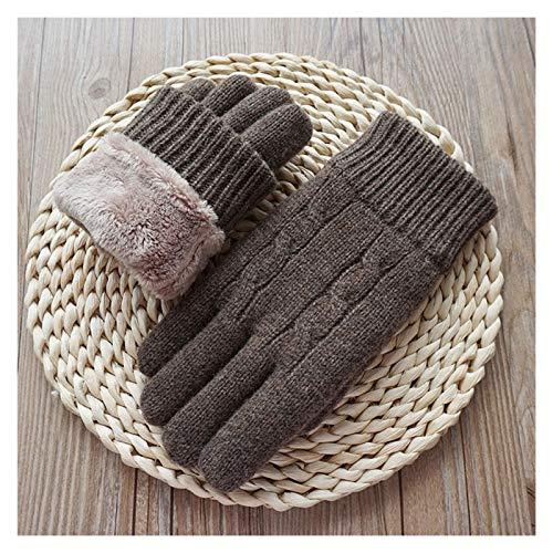 YNLRY Guantes de invierno impermeables para hombre, guantes de pantalla táctil, guantes de terciopelo grueso, guantes de lana para tejer, color gris B01, talla de los guantes: 17 21 cm
