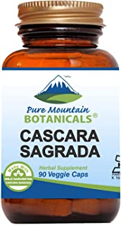 Cascara Sagrada Capsules - 90 Vegan Kosher Caps Now with 400mg of Wild Harvest Cascara Sagrada Aged Bark