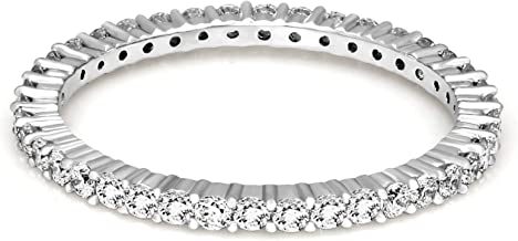 Friendly Diamonds IGI Certified 1/2 ct to 5/8 ct Lab Grown Eternity Diamond Band Rings For Women 14K White Gold Lab Created Real Diamond Engagement Band Rings
