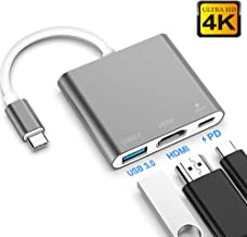 USB C to HDMI Multiport Adapter,Type C Hub to 4K HDMI with USB 3.0 Port and USB C Charging Port, USB-C to HDMI Adapter for MacBook Air/MacBook Pro/ipad pro/Galaxy S10/S9/Surface Book 2/Go (Gray)