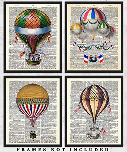 Hot Air Balloons Dictionary Wall Art Prints: Unique Room Decor - Set of Four (8x10) Unframed Pictures - Great Gift Idea Under $20 Antique Hot Air Balloon