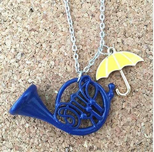 JSJJARF Keychain US Reality Show Keychain How I Met Your Mother Yellow Umbrella Blue French Keyring Charm Pendant Jewelry diy (Color : Necklace)