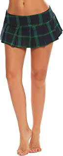 Lingerie Women Role Play Costume Mini Plaid Skirt Schoolgirl Outifts