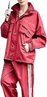 PENGFEI レインコートポンチョ ジャケット レインパンツ 防水 セット ライディング ファッション 通気性ライニング 恋人、 5サイズ (色 : Dark red, サイズ さいず : XL)