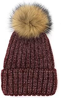 MZHHAOAN Knit Hat Autumn and Winter Warm Bright Silk Thread Cap Thick Soft Warm Chunky Beanie Caps for Women Men,Navy,M56-58cm