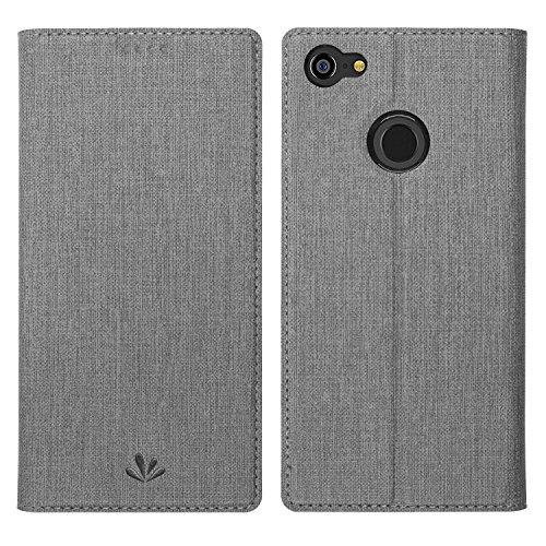 Simicoo Google Pixel 3 XL Premium Leder Tasche Flip klappbares Handyhülle Hülle Standfunktion Kartenfach Magnetverschluß Card Holder kristallklarer TPU Wallet Schutzhülle für Google Pixel 3 XL (Gray)