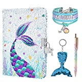 Sequins Notebook Set - Sparkly Mermaid Journals Unique Gift for Girls Travel School Office Notepad Memos A5 Diary Notebooks Ballpoint Pen Bracelet Key-chain with Locks and Keys