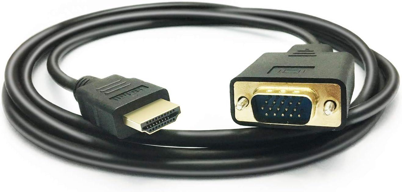 PeoTRIOL HDMI to VGA Cable, 1080P HDMI Male to VGA Male M/M Video Converter Cord VGA Adapter Compatible w/ HDMI Desktop, Laptop, DVD to 15 Pin D-SUB VGA HDTV Monitor Projector - 6Feet