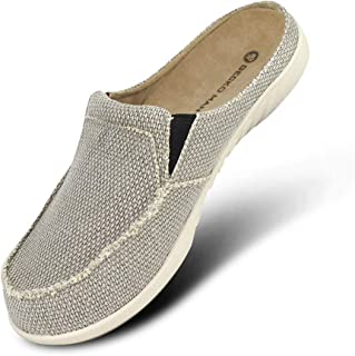Mens Slippers with Arch Support, Canvas House Slipper for Men with Velvet Lining, Slip On Clog House Shoes with Indoor Outdoor Anti-Skid Rubber Sole